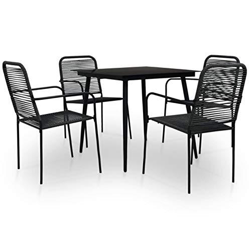 Kshzmoto 5 Partes Juego de Comedor de jardín Grupo de Asientos Muebles de jardín Mesa de jardín Juego de jardín Muebles de balcón Cuerda de algodón y Acero Negro