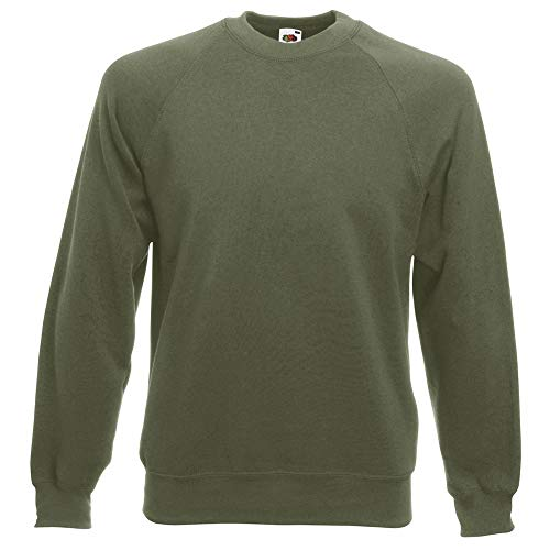 Fruit of the Loom Mens Raglan Sleeve Belcoro Sweatshirt (L) (Classic Olive)