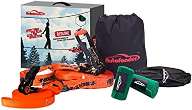 Autofonder Slackline Kit with Training Line-250lbs Weight Capacity for Adults Children and Beginners-Perfect Slack Line with Tree Protectors Ratchet Cover Instructions and Carry Bag for Tree Backyard