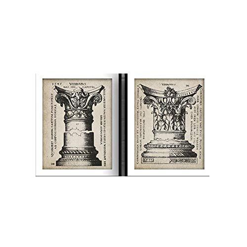 DóRico Corintio Columnas Vintage Poster LatíN Texto TipografíA Retro Pared Arte Lienzo Dolor Retro Imprimir Cuadros Inicio Decoracion 30x40cmx2 No Marco