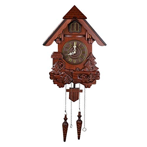 ufengke Vivid Large Cuckoo Clock Made of Solid Wood with Battery Operated Quartz Movement Bird Sing Every Hour