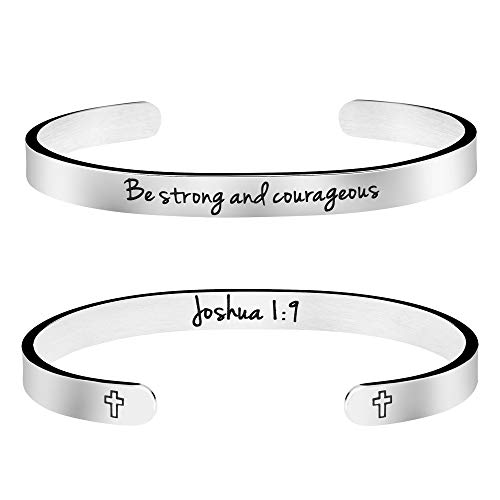 Joycuff Be Strong and Courageous Inspirational Christian Jewelry Bible Verse Cuff Bangle Bracelet Personalized Gift for Women