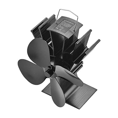 COMBIUBIU Wood Stove Fan Black Fireplace 4 Blade Heat Powered Stove Fan komin Log Wood Burner Eco Friendly Quiet Fan Home Efficient Heat Distribution