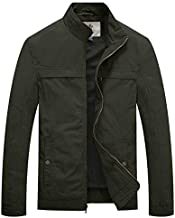 WenVen Men's Military Jacket Lightweight Cotton Casual Utility Coat,Army Green,L