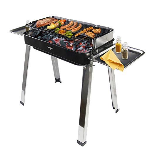 Barbecue Carbone Portatile, Griglia Barbecue BBQ Acciaio Inox, Barbeque a Carbonella per 4-5 Persone Giardino Balcone Picnic All'aperto Campeggio