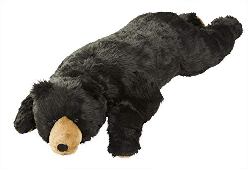 Black Bear Animal Giant Plush Stuffed Body Hug Pillow for Kids Teens Adults, Soft Dense Fur, Beaded Eyes, Weighted Paws, Bed Accessories Toys Cuddly Critters Bedroom Decor, 4 Feet Long