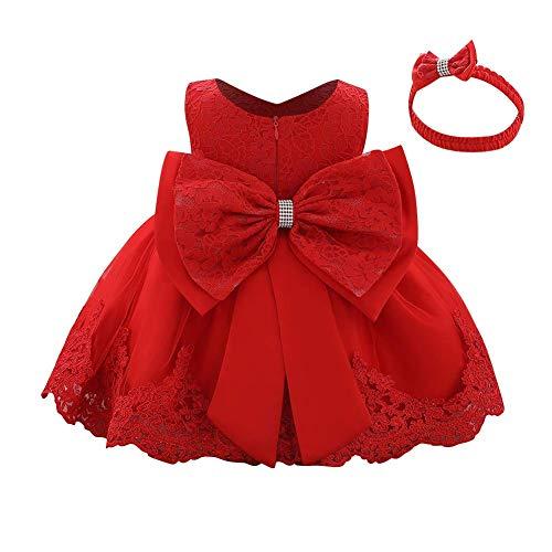 IWEMEK Vestido de encaje para bebé niña, con lazo, para dama de honor, boda, tutú, princesa, cumpleaños, fiesta, bautizo, niño, vestido formal de fiesta rojo 18-24 Meses