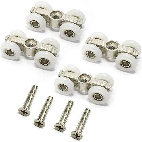 4 ruedas ducha baño puerta corredera colgante rueda rodillo polea 17.5mm