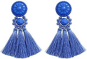 Tassel Fringe Long Statement Earrings in Cobalt Blue/Electric Blue