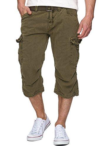 Indicode Herren Nicolas Check 3/4 Cargo Shorts kariert mit 6 Taschen inkl. Gürtel aus 100% Baumwolle | Kurze Hose Sommer Herrenshorts Short Men Pants Cargohose kurz für Männer Army XXL
