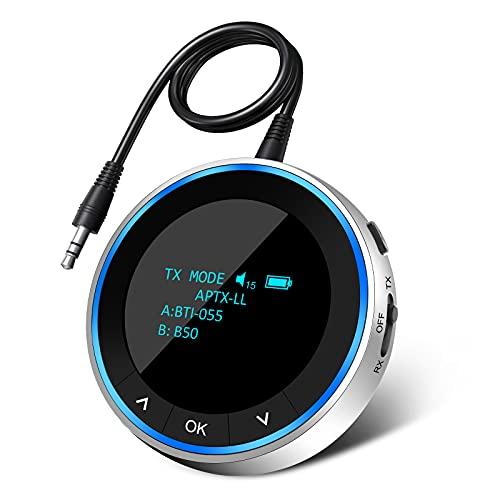 Transmetteur Récepteur Bluetooth 5.1, 2 en 1 OLED écran Adaptateur Audio Bluetooth sans Fil avec 3,5 mm/RCA Dual Connexion Faible Latence pour PC TV Tablette Téléphone Casque Haut-Parleur