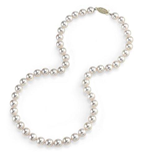Collana in oro 14 carati, 7,5 – 8,0 mm, con perle coltivate bianche Akoya giapponesi, qualità AA+, lunghezza girocollo 40,6 cm e Oro giallo, colore: Oro/Bianco., cod. 1