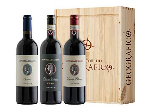 Cassetta da 3 bottiglie: Chianti Classico DOCG, Chianti Classico DOCG Riserva e Toscana IGT Contessa di Radda Geografico 3 bottiglie da 0,75 L, Cassetta di legno