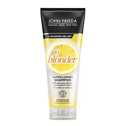 John Frieda Sheer Blonde Go Blonder Shampoo - 2-pack (2 x 250 ml) - oplichtend - met citrus en kamille - licht geleidelijk op - ook voor gekleurd haar
