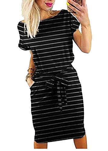 Roselux Women's Elegant Short Sleeve Wear to Work Casual Pencil Dress with Belt ¡ (Medium, Black Striple)