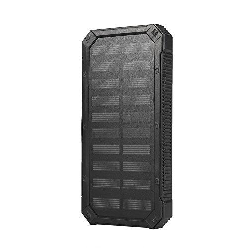 Solar Power Bank, kit fai-da-te per caricabatterie solare da esterno portatile impermeabile da 20000 mAh, doppie porte USB, ricarica rapida, per telefoni cellulari, tablet, fotocamere, ecc.(nero)