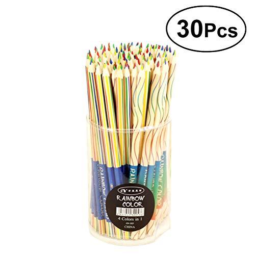 SUPVOX Regenbogen Buntstifte Set 4 Farben in 1 DIY Design Bleistift mit lebendigen Farben Kombinationen für Kinder Erwachsene Kunst Zeichnung Färbung und zugrunde liegenden 30PCS