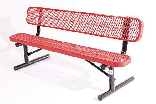 Coated Outdoor Furniture B6WBP-RED Park Bench Back, 6 Feet, Red