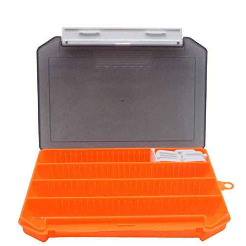 qijin Fly Fishing Box Double-sided Waterproof Lightweight Fly Box Easy To Hold Transparent Cover Fly Fishing Bait Box 20.5cm*14.5cm*3cm/ Orange (2 pcs)