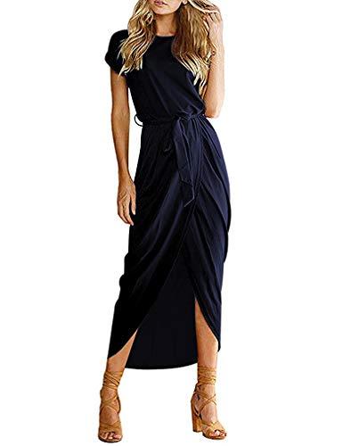 Qearal Women Short Sleeve Elastic Waist Slit Dress (S, Navy Blue)