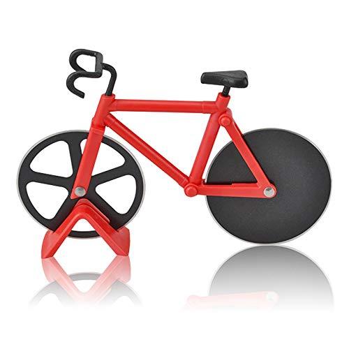 BESYLO Fahrrad Pizzaschneider, Pizza Cutter aus, Fahrradform-Pizzaschneider mit Ständer, Schneidräder aus Edelstahl, Cutter für Pizza und Teig, für Küchengeräte