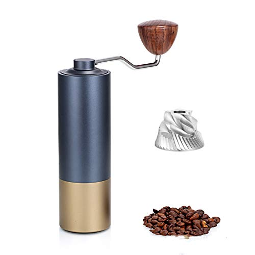 Manual Coffee Grinder - Portable Hand-Operated Grind Machine with Adjustable Coarseness - Stainless Steel Burr - Best for Camping, Travel, Backpacking.