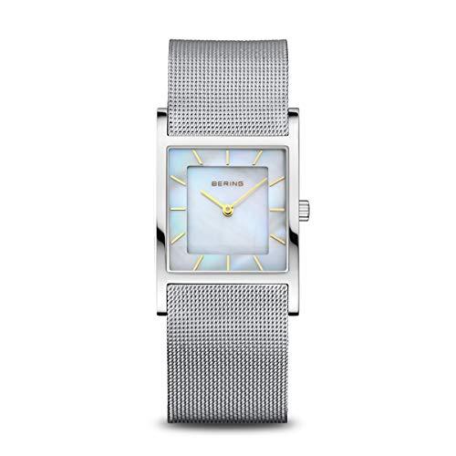 BERING Damen Analog Quarz Classic Collection Armbanduhr mit Edelstahl Armband und Saphirglas 10426-010-S