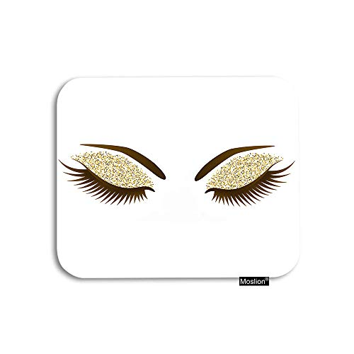 Moslion Eyelash Mouse Pad Woman Eye with Long Eyelashes Makeup Golden Glitters Eyeshadow Gaming Mouse Pad Rubber Large Mousepad for Computer Desk Laptop Office Work 7.9x9.5 Inch