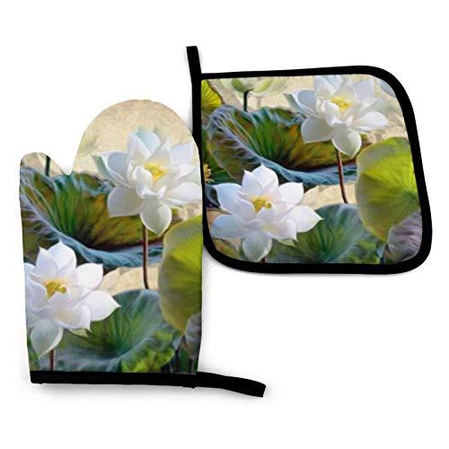 BONRI Ilustración digital Blooming White Lotus Manoplas y soportes para ollas Conjuntos de guantes de horno y agarraderas con poliéster reciclable antideslizante guantes de cocina para cocinar y asar