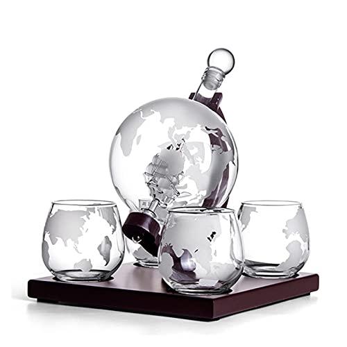 QJTZ Whisky Glass and Bottle Set Creative Globe Contenedor de Vino Vodka Glass Home Office Decorations Bar Set de Vino Vidrio sin Plomo 0517 (Color : Set)