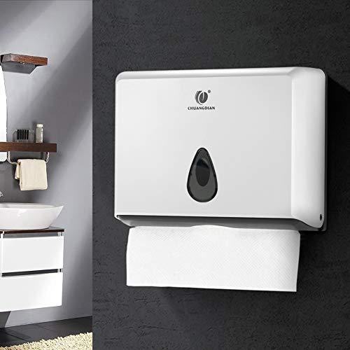 Papierhandtuchspender Wandmontage Papierhandtuchhalter Abschließbar Handtuchspender mit Schlüssel Papiertuchspender für Toilette Baderzimmer 200 Blätter Weiß