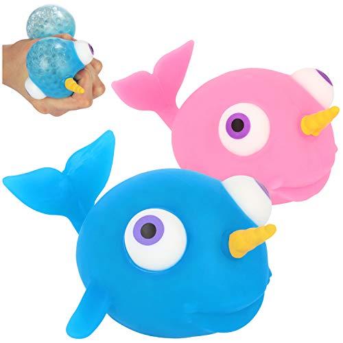 com-four® 2X Anti-Stress-Figur - Squeeze Spielzeug Narwal - Quetsch-Ball für Kinder und Erwachsene [Auswahl variiert] (02 Stück - Narwal)
