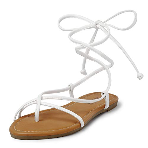 SANDALUP Lace up Sandals Tie up Dress Summer Flat Sandals for Women White 07