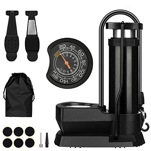 Bomba para Bicicleta con Manómetro, Mini Bomba de Aire Portátil de Ppie, 160 PSI Alta Presión Inflador Bici Adaptador de Válvulas Presta y Schrader per BMX MTB Globo Baloncesto