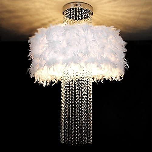 QQW Lámpara de Cristal, Plumas Blancas Colgantes, Luz de Techo, Bombilla de Luz, Sala de Estar Restaurante Chandelier Achandelier Accesorios, 70 * 84Cm