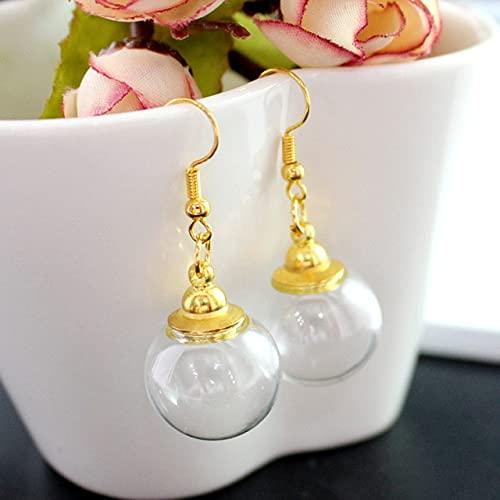 Minyose 1 par de Pendientes de Bola de Cristal Transparente con Tapones de Rosca prepegados Pendientes de medallón de Cristal rellenables Huecos Pendientes Transparentes Joyas Transparentes