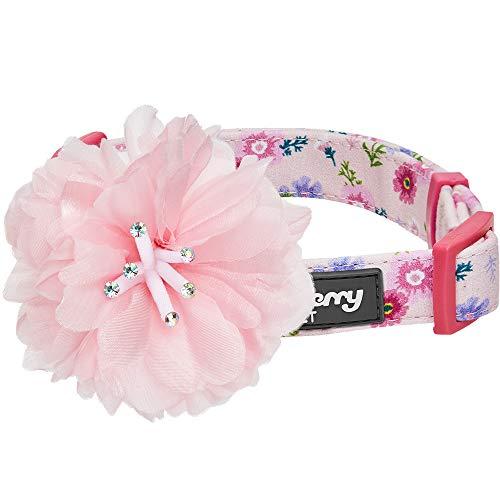 Blueberry Pet Flower Power Cosmosblume Designer Pinkes Hundehalsband mit Abnehmbarer Rosa Pfingstrose, M, Hals 37cm-50cm, Verstellbare Halsbänder für Hunde