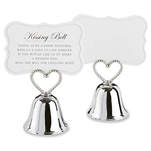 WOVELOT 20Pcs'Kissing Bell' Silver Bell Place Portatarjetas/Photo Holder Boda DecoracióN de Mesa Favores