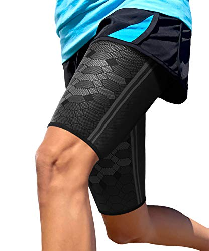 Sparthos Thigh Compression Sleeves (Pair) - Upper Leg Sleeves for Men and Women Elastic Support for Sore Hamstring Groin Quad Reduce Cramping Athletic Sports Washable and Durable (Black-XL)