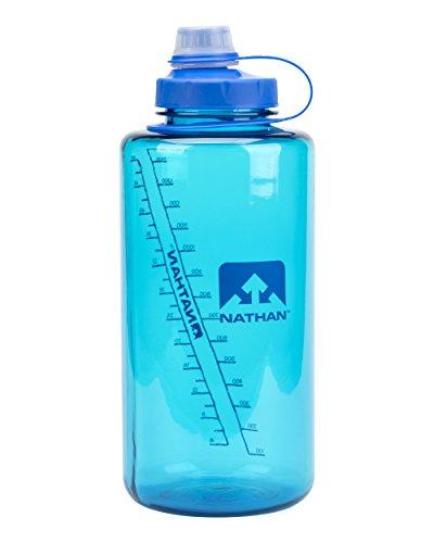 Nathan Sports Super Shot Sport Ugello Senza BPA Bottiglia d'acqua con cinghia riutilizzabile Bottiglia di acqua grande bottiglia di acqua blu rosa e trasparente, 850,5 g/1,5 l (NS4314-0245-015LI)