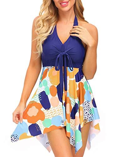 Women Swimsuit Two Piece Tankini Swimdress Halter Tank Top Boyshort Floral Orange S