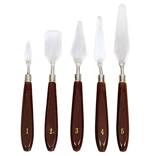 Teenitor 3D Print Removal Tools with Sturdy Wooden Handle, Tool Kit for 3D Printer Spatula Palette Knife Painting Enhanced Version Pack of 5