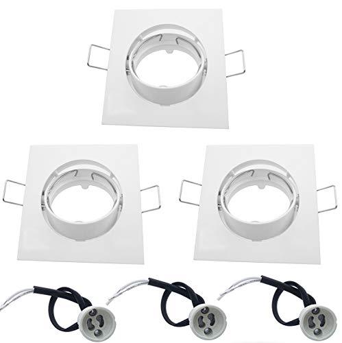 BlueXP 3-teilige verstellbare Einbaustrahler-Rahmen GU10 Vierkant-Montagerahmen mit GU10-Lampenfassung für GU10 MR16 50 mm LED und Halogen-Schlafzimmer Wohnzimmer Flur-Weiß