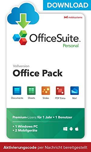 OfficeSuite Personal – DOWNLOAD / Online-Lizenz – Documents, Sheets, Slides, Mail und PDF für PC Windows, Android, iOS – 1 Jahr Lizenz für 1 Benutzer