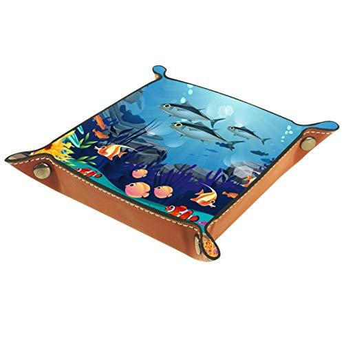 TIKISMILE Plateau de rangement carré en cuir avec poissons, algues et récifs de corail, rouge à lèvres, organiseur de produits cosmétiques, pour la maison, le bureau, les clés, divers articles
