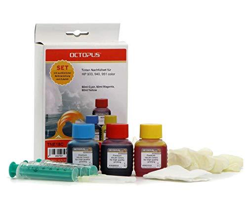 Octopus Kit de Recarga de Tinta de Impresora Compatible para HP 940 XL, 951, 951 XL Color