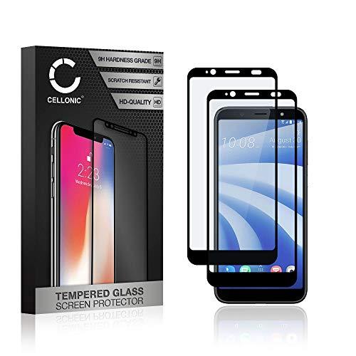 CELLONIC 2X Protection d'écran en Verre Compatible avec HTC U12 Life (3D Full Cover 9H 0.33mm Full Glue) Protecteur d'écran Protector Film vitre Screen Protector Tempered Glass
