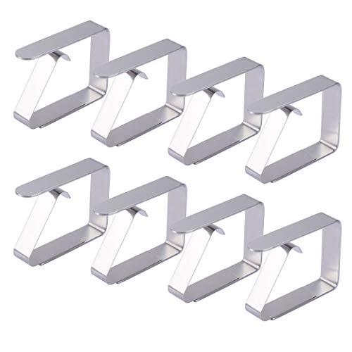 FT-SHOP Tischdeckenklammer 8 Stück Tischtuchhalter Tischtuchklammern Edelstahl Tischdecke Clips Tischtuch Clips fur 2,5-3,5 cm Tischplatten