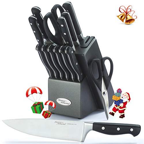 Marco Almond KYA33, Premium German Steel Knife, 15 Pieces Chief Cutlery Knives Set with Wooden Block, 2 pcs Kitchen Scissors, Built in Sharpener, Best Gift Black, Self