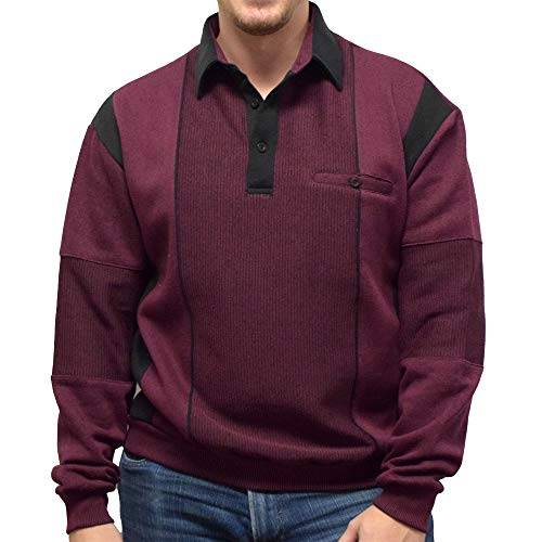 Classics by Palmland L/S Two Tone Banded Bottom Shirt 6094-165B (Large, Wine)